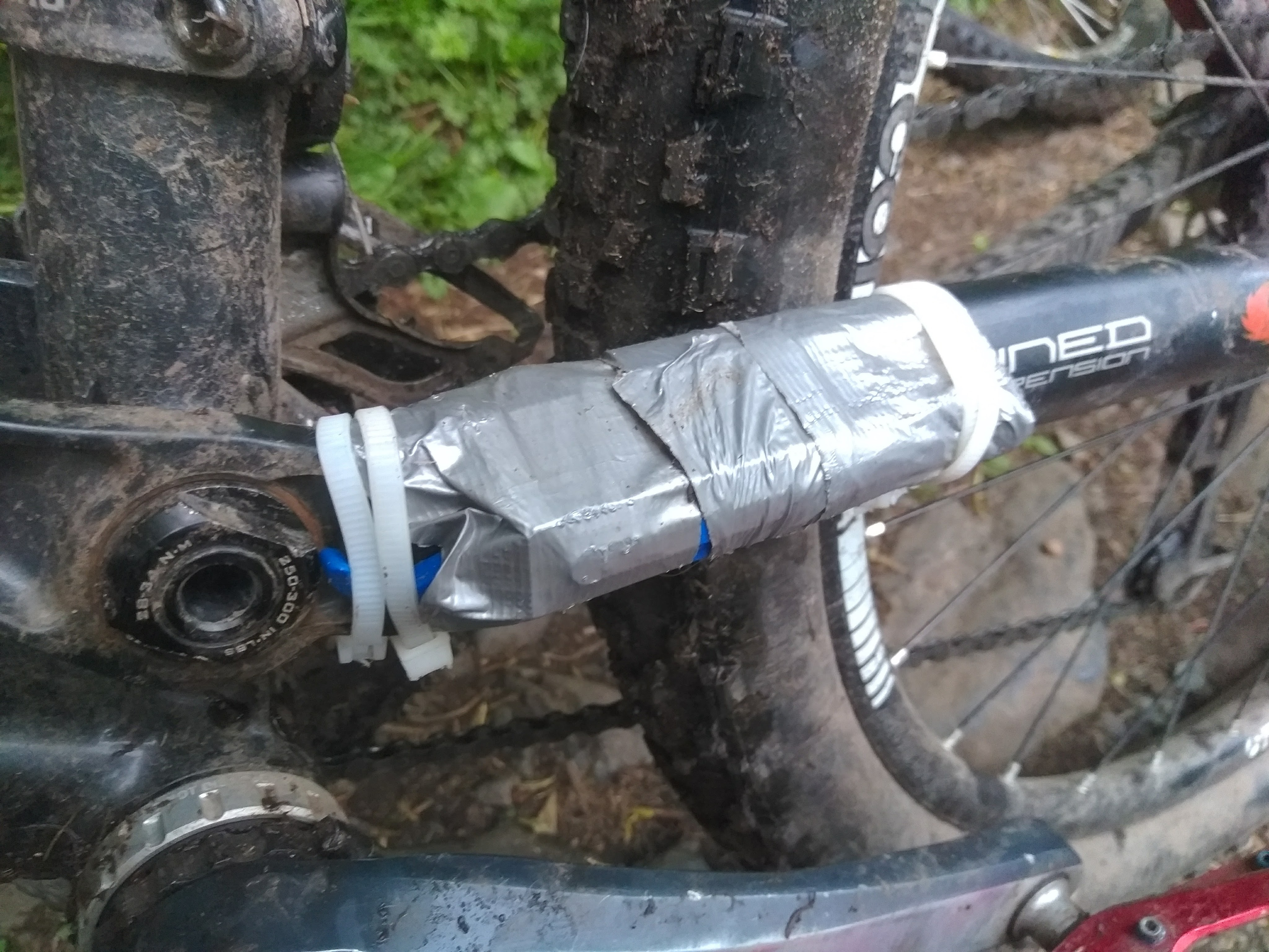 """Cracked chainstay """"get you home"""" - may not represent normal repair quality."""